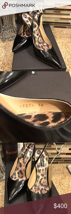 Dolce and Gabbana Patent leather slingbacks Black patent leather slingbacks. Rare leopard soles. 38 but fit like a 7.5. Selling be use they are just slightly too small for me. Only tried on never worn otherwise. Come with box (there is crayon on the box due to my toddler getting ahold of the lid) Dolce & Gabbana Shoes Heels