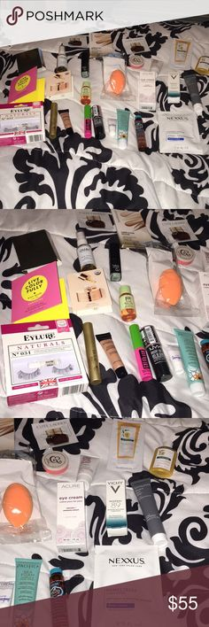 Beauty bundle retailed over $100 All brand new products brands included are pixi, ouai,real techniques,stila,maybelline,nyx cosmetics,nexxus,elf,smashbox,Pacifica,acure,Kate spade,Vichy,briogeo,living proof and many more.... Pixi Makeup