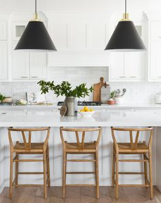 LOVE these counter stools and natural material contrast to polished white kitchen (Gabriel Counter Stool – McGee & Co. Home Decor Kitchen, New Kitchen, Home Kitchens, Kitchen Ideas, Kitchen Black, Decorating Kitchen, Kitchen Shop, 10x10 Kitchen, White Marble Kitchen