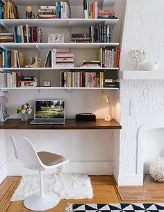 Alcove built-in shelves/desk combo