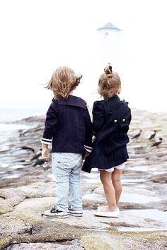 Her pea coat!! His pants. Their shoes. Perfect for trips to papa B's boat.