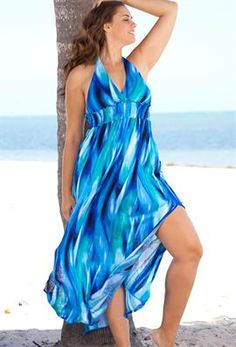 Mediterranean Plus Size Halter Maxi Dress | Plus Size Swimwear | OneStopPlus