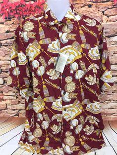 19751dd286d Reyn Spooner Mens Maroon Tiki Torch Tropical Print Aloha Hawaiian Shirt  Rayon XL