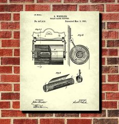Toilet Paper Holder Patent Print Bathroom Decor Blueprint Art Poster. One of a huge collection of themed Patent prints in a wide range of sizes and colours.