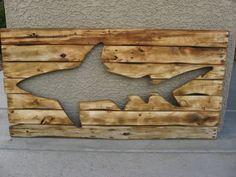 Distressed Wooden Shark Pallet Wall Art Wood by BBSIGNSDESIGNS