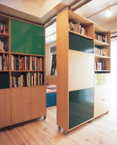 45 Inspiring Partition Apartment Ideas is part of - Modern room partitions have many uses They can divide a large room into smaller areas, separate a room, enhance your […] Movable Partition, Movable Walls, Partition Ideas, Wall Partition, Apartment Bookshelves, Moving Walls, Bookcase Door, Small Apartment Decorating, Apartment Ideas