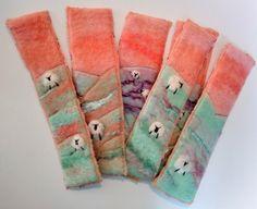 Sheep felt bookmarks by Cathie Palmer - Felt Isle