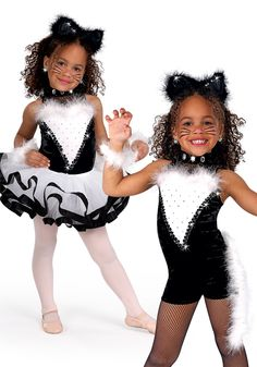 5100 - Dancing Kitties Shortall - This kitty has claws in a black and white solid and sequin dot velvet shortall with attached feather marabou tail and trim.
