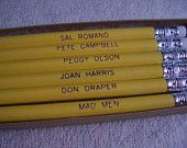 Mad Men Engraved Pencil Set - Don Draper, Joan Harris, Pete Campbell, Peggy Olson 6 Gift Boxed Pencils