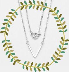 Layered Chevron Silver & Rhinestone Pendant Necklace