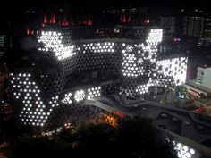 Effect of artificial light on the façade of the building