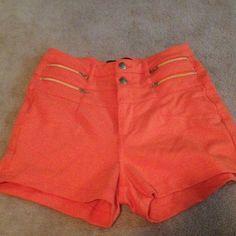 Cute Orange Shorts Cute, orange , shorts with gold zippers and buttons. EUC. Shorts