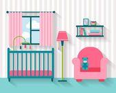 Baby room con mobili — Vettoriale Stock #77300798