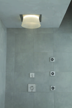 Turn your guest bathroom into a spa-like oasis for your holiday guests with a rain shower. Rain Shower, Shower Faucet, Oasis, Showers, Wall Lights, Spa, Bathroom, Holiday, Home Decor