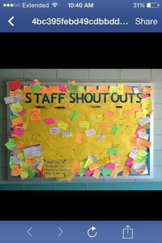 People Management Working with Colleagues/Paraprofessionals Great idea to do in the classroom with student shoutouts - Staff Shoutouts Bulletin Board - Great way to boost morale! School Leadership, Educational Leadership, Classroom Organization, Classroom Management, Organizing, Planning School, Teacher Appreciation Week, Employee Appreciation, Teacher Gifts