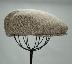 Men's Hat  Wool Tweed Herringbone Golf Cap in Tan and by Sookie, $68.00