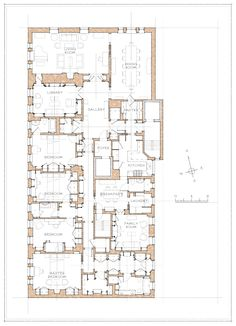 John B. Hotel Floor Plan, House Floor Plans, Family House Plans, Country House Plans, Architectural Floor Plans, Architectural Drawings, Floor Plan Drawing, Vintage House Plans, Apartment Floor Plans