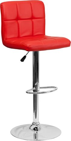 Contemporary Red Quilted Vinyl Adjustable Height Barstool with Chrome Base http://www.ubuyfurniture.com/ds-810-mod-red-gg.html #red #adjustable #barstool