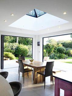 bi-fold doors and skylight combine to produce a modern orangery Garden Room Extensions, House Extensions, Kitchen Extensions, House Extension Design, House Design, Extension Ideas, Conservatory Roof, Conservatory Insulation, Roof Lantern