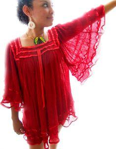 b6319534412 Fuego Azteca Crochet Details sheer Gauze cotton Mexican Angel wings Boho  Tunic Mini Dress Crochet Tunic