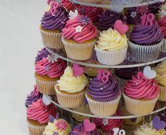 Pink, Purple and Cream 18th Birthday Cupcake Tower