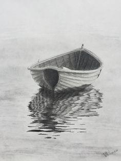 $90 Row boat reflections. Original art, graphite pencil drawing by Elena Whitman.