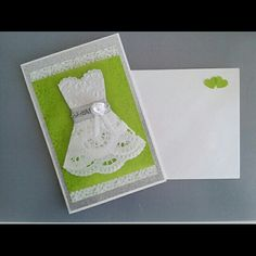 Wedding card / doilie dress, handmade