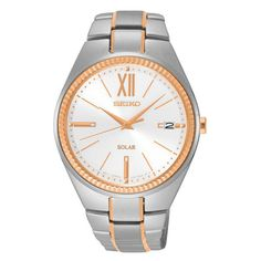 Seiko SNE878 Women's Watch Solar Rose Gold Highlight Stainless Steel