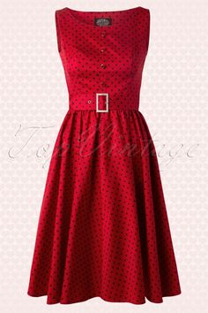 Hearts and Roses 50s Sally Polkadot Swing Dress in Red 102 27 13284 1W