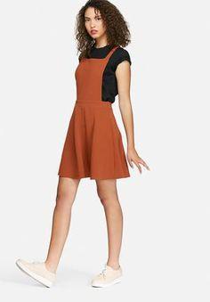 a811adff4b3f9 Dailyfriday Crepe Pinafore Dress Casual Burnt Orange Dresses Online