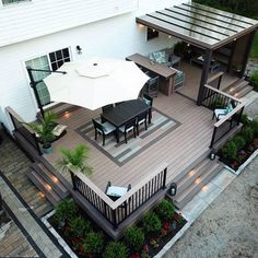 Building a Deck, Patio, Fire Pit and Pergola - Full Build Time Lapse Outdoor Patio Designs, Patio Ideas, Backyard Deck Designs, Low Deck Designs, Outdoor Living Patios, Porch Designs, Porch Ideas, Backyard Ideas, Backyard Renovations