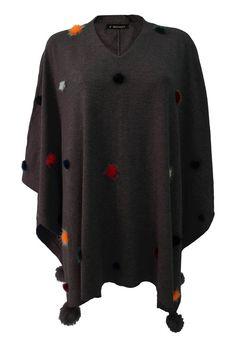 Multi coloured pom pom poncho - black
