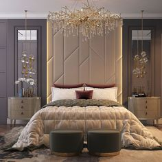 Russian contemporary apartment with Boca do Lobo by Ekaterina Lashmano - Einrichtungsideen - Modern Luxury Bedroom, Master Bedroom Interior, Luxury Bedroom Design, Modern Master Bedroom, Bedroom Furniture Design, Home Room Design, Master Bedroom Design, Contemporary Bedroom, Luxurious Bedrooms