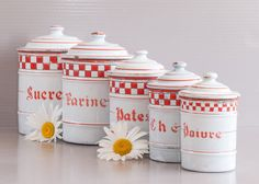 French Enamel Canister Set   5 enamel canisters   French Kitchen canister   French Enamelware   Shabby chic Kitchen   French Country style