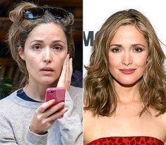 Stars Without Makeup. I'm pinning b/c I like her hair color on the right.