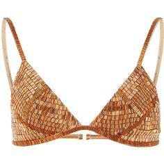 Agua de Coco Palhas Beaded Bikini Top ($575) ❤ liked on Polyvore featuring swimwear, bikinis, bikini tops, bikini, gold, gold swimsuit top, beaded bikini, beaded bikini top and gold bikini