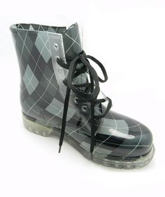 Take a look at this Black & Gray Plaid Rain Boot by USPC Footwear on #zulily today! $28 !!
