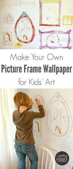 DIY Picture Frame Wallpaper for Children's Art