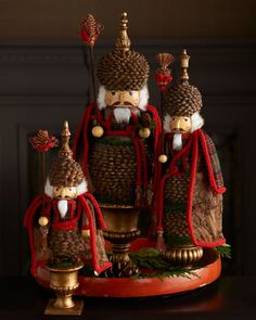 "Three ""Pine Cone"" Nutcrackers - Horchow"