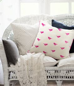Bright birdy pillow #spring #decor