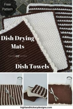 Crochet Dish Drying Mat or Dish Towel. Free pattern. Comes with three towel variations to choose from or make all three! Super absorbant and easy to make.