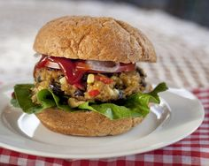 Black Bean and Quinoa Burgers  Nice and hearty vegetarian dish, packed with protein and flavor!