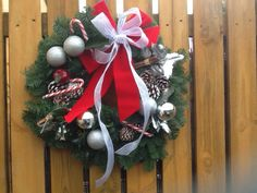 Christmas door wreath red and silver