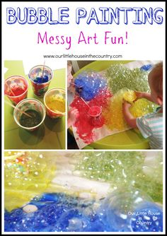 Bubble Painting- Messy Art Fun, Perfect Activity for a Rainy Day - Our Little House in the Country #art #kidsactivities #messyplay #bubblepaint