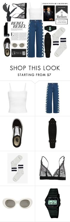 """""""I JUST WANNA BE A SKATER BOY"""" by seetheotheroceans ❤ liked on Polyvore featuring KÉJI, Vans, Monki, Acne Studios, Casio and Wandschappen"""