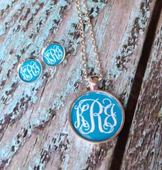 Silver Monogram Necklace, Earrings Set Bridesmaid gifts, Personalized Jewelry, Initial Necklace, Initial Earrings, Tiffany blue