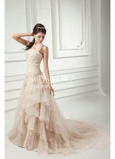 Halter Embroidery Tiered Organza Champagne Wedding Dresses