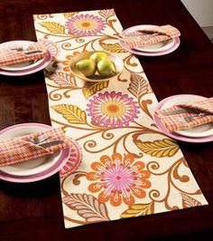 Table runner  napkins - free project using @HGTV HOME #fabric :)