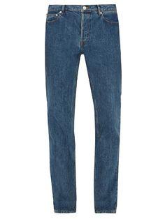 Low Standard Slim-leg Jeans In Stonewashed Indigo-blue Chandler Bing, Japanese Denim, Apc, Indigo Blue, Straight Cut, Slim Legs, Mens Fashion, Jeans, Model