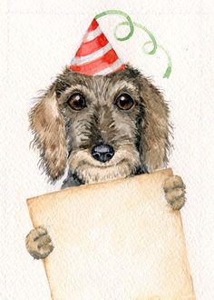 Dapple Dachshund, Wire Haired Dachshund, Dachshund Art, Daschund, Scottish Terrier, Dog Quotes Love, Dog Birthday, Birthday Wishes, Dog Art